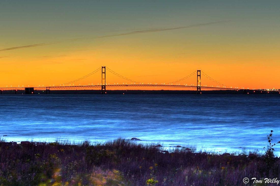 Mackinaw Bridge at sunset.